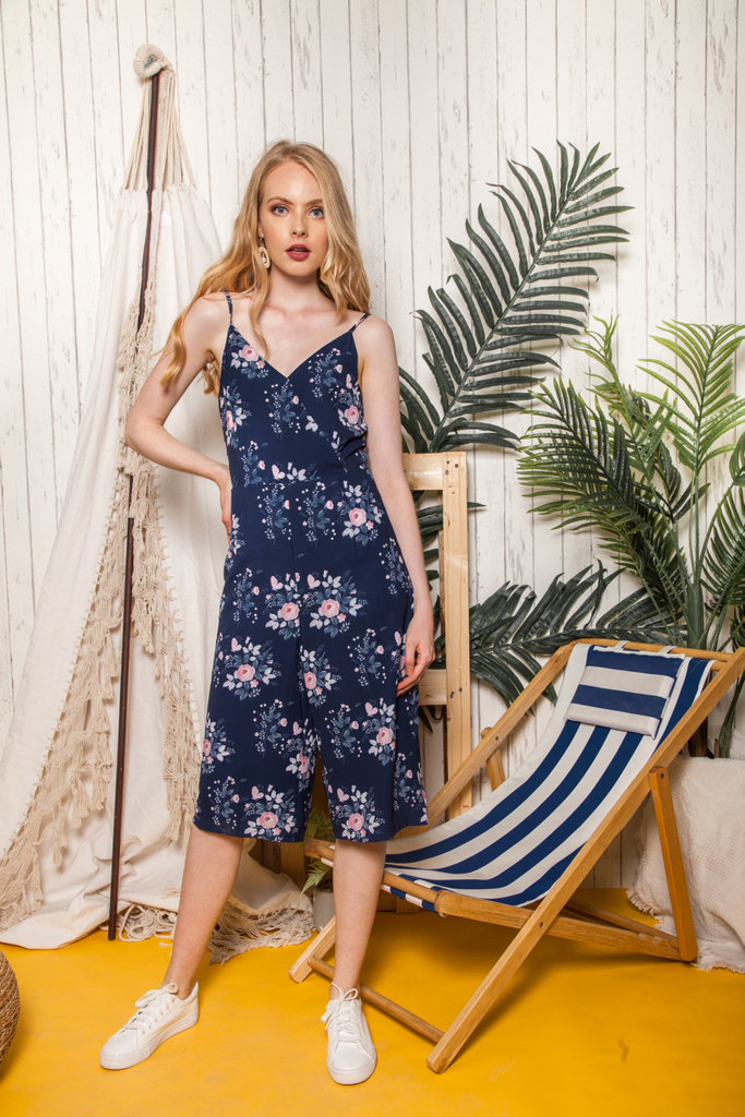 6df65f2514c0 Neira Faux Wrap Floral Jumpsuit in Navy