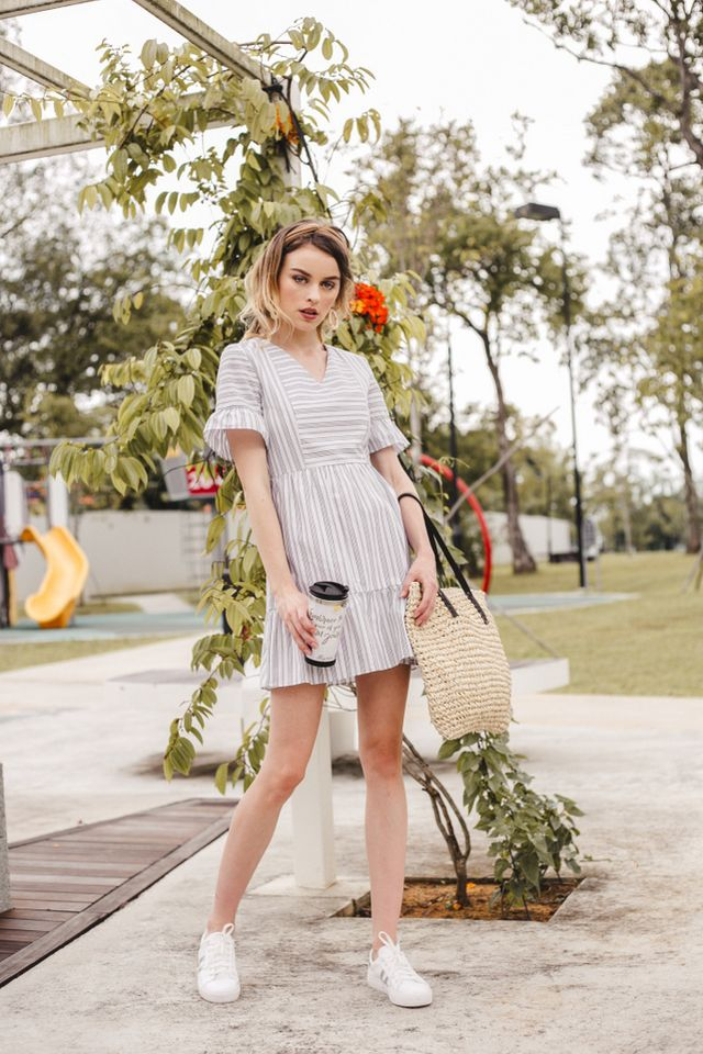 Lynsday Pinstripe Ruffle Skater Dress in White