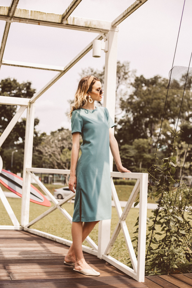 Morgana Midi Shift Dress  in Seafoam