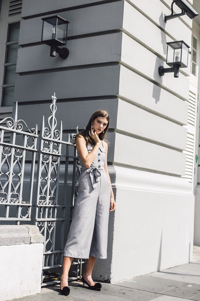 Vedette Button Striped Jumpsuit in Grey