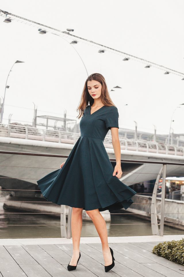 Sontana Folded Sleeve Flare Dress in Teal