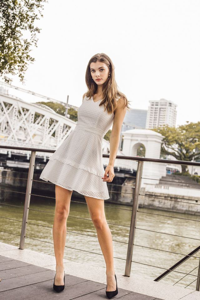Millay Eyelet Skater Dress in White