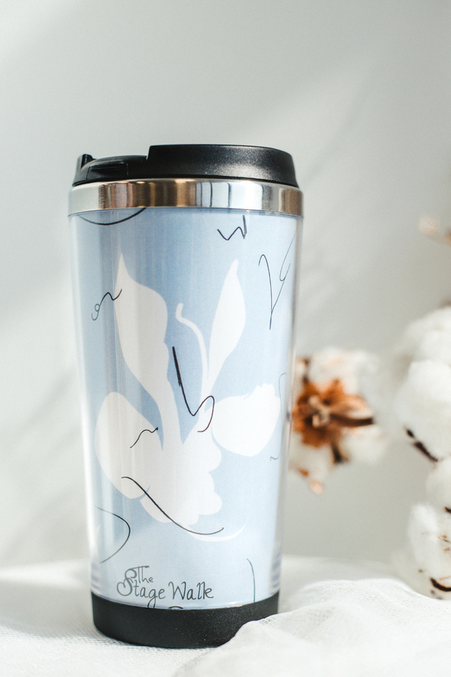 Blue Abstract Print Tumbler