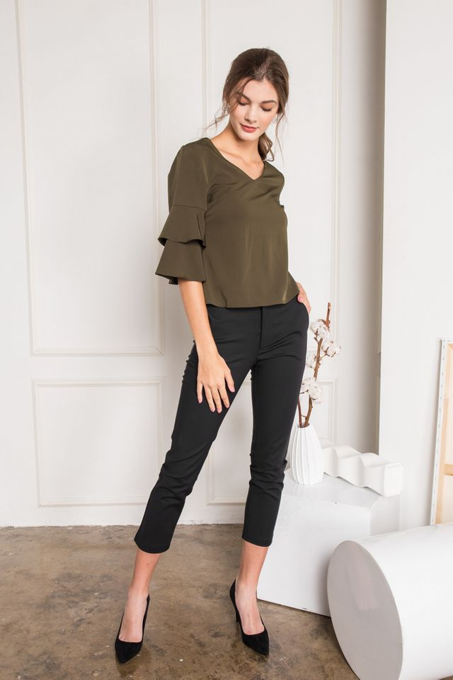 Tauria Ruffled Sleeve Top in Olive (XS)