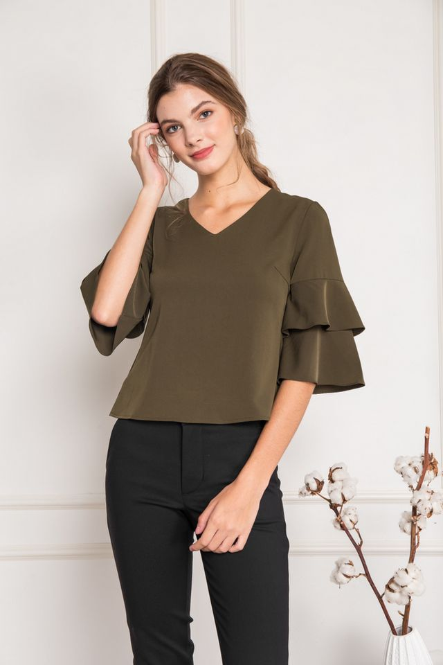 Tauria Ruffled Sleeve Top in Olive