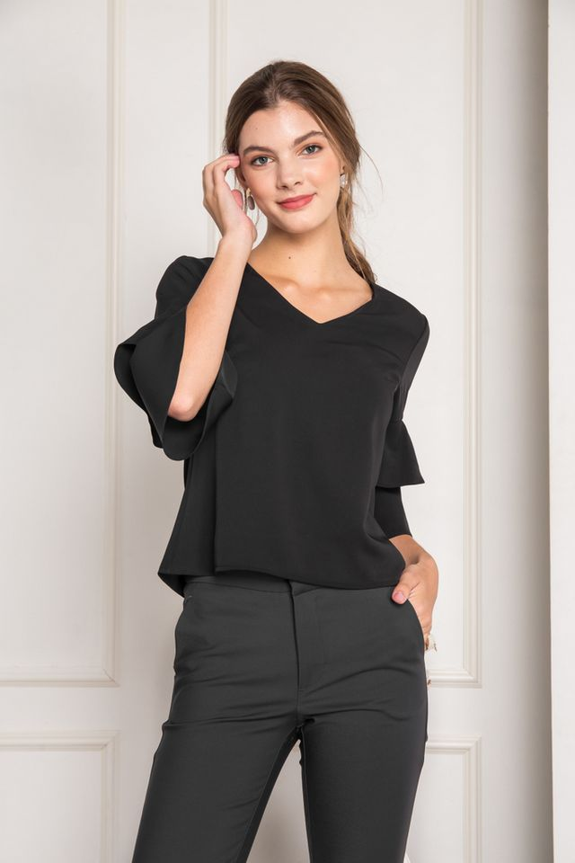 Tauria Ruffled Sleeve Top in Black