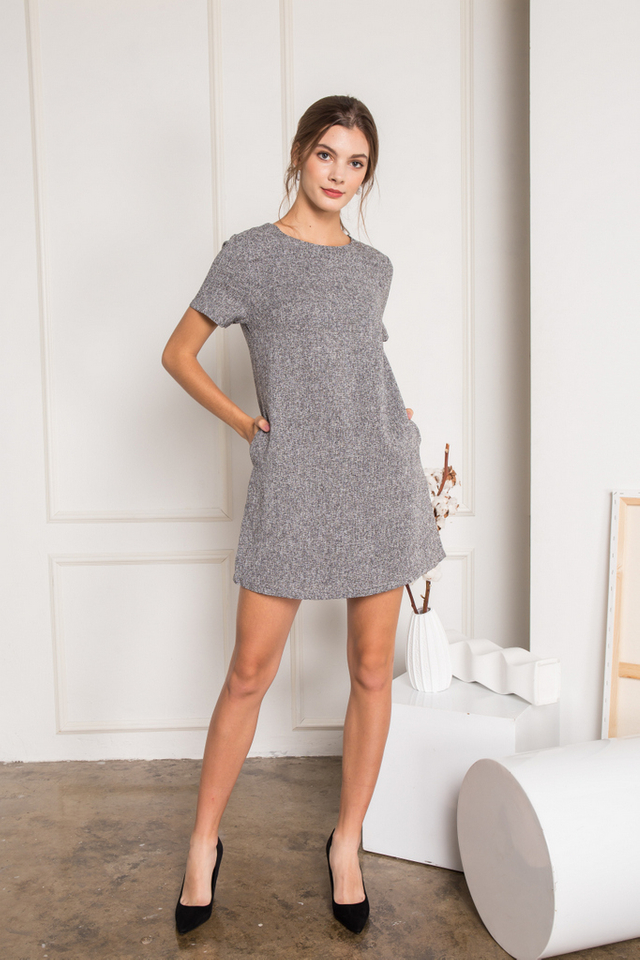 Cezelia Tweed Shift Dress in Grey