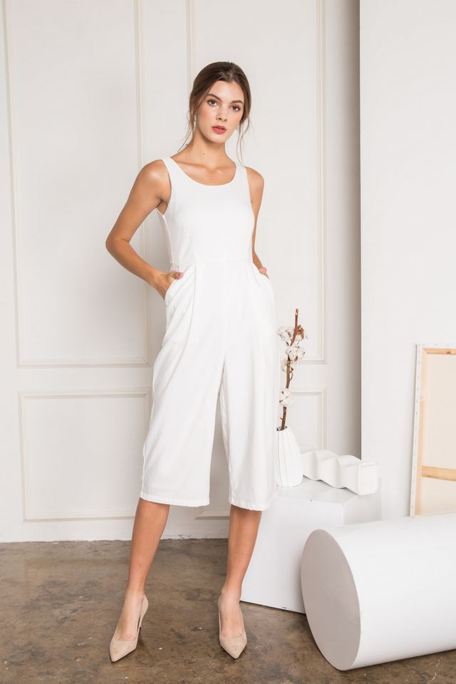 Ray Basic Culottes Jumpsuit in White (XL)