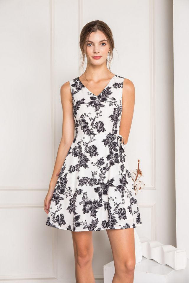 Lycia Floral Overlay Skater Dress in White