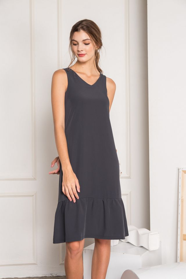 Flor Dropwaist Midi Dress in Slate Grey