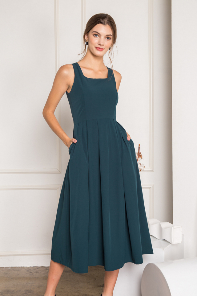 Tamora Soft Pleated Maxi Dress in Teal