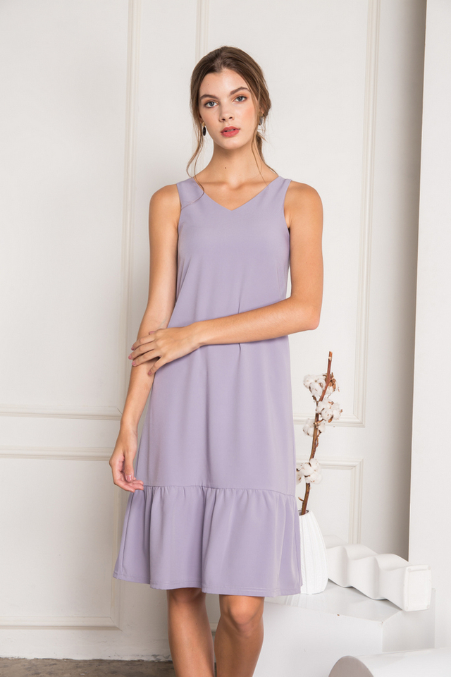 Flor Dropwaist Midi Dress in Lilac (XL)