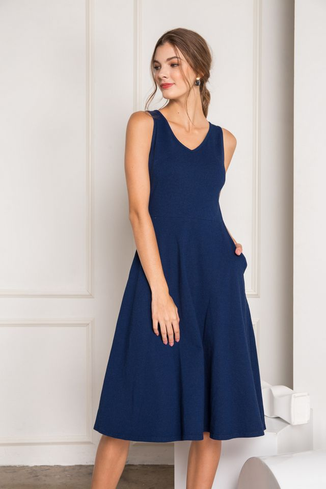 Kalea Denim Midi Skater Dress in Blue