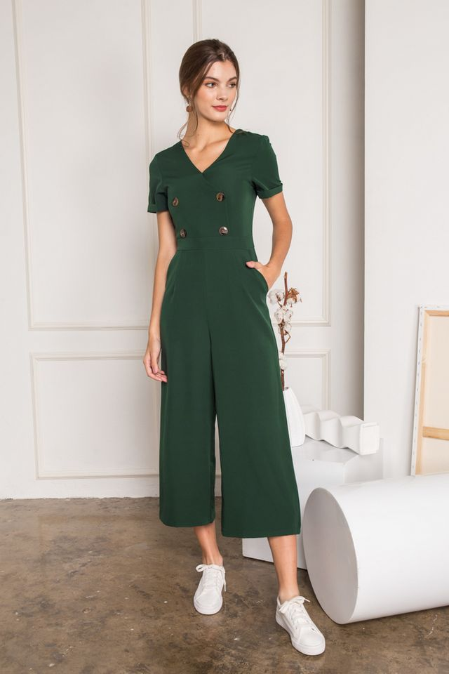 Audria Double Breasted Jumpsuit in Forest