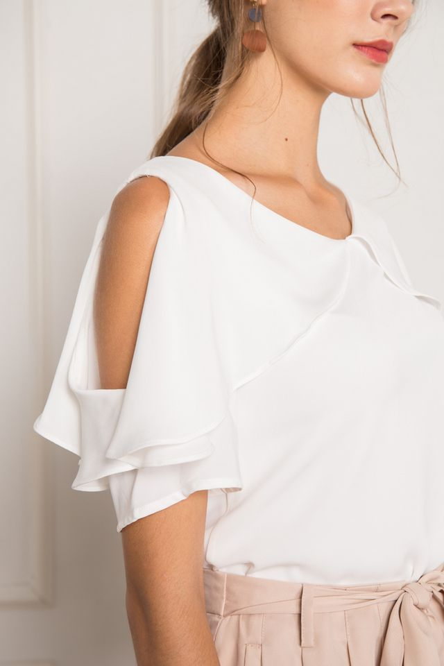 Fenella One-shoulder Layered Top in White