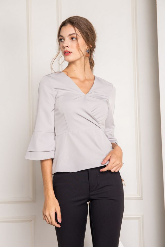 Petunia Faux Wrap Ruffles Top in Grey