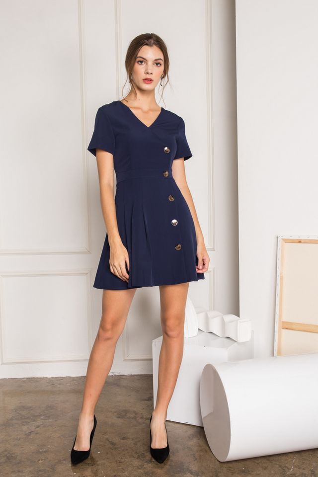 Daleya Button Side Pleated Dress in Navy