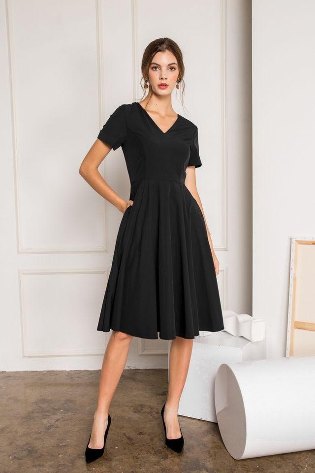 Sontana Folded Sleeve Flare Dress in Black