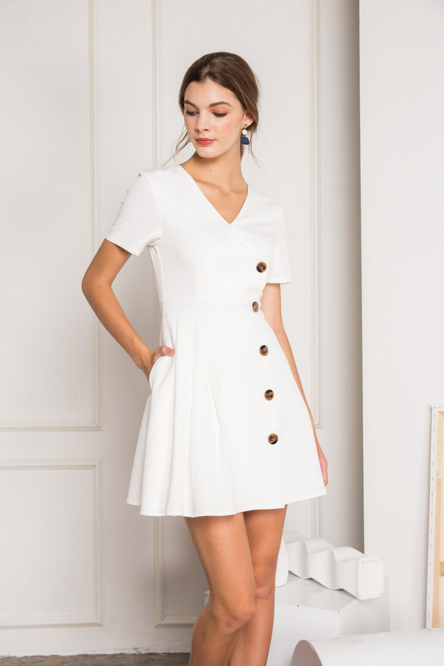 Daleya Button Side Pleated Dress in White