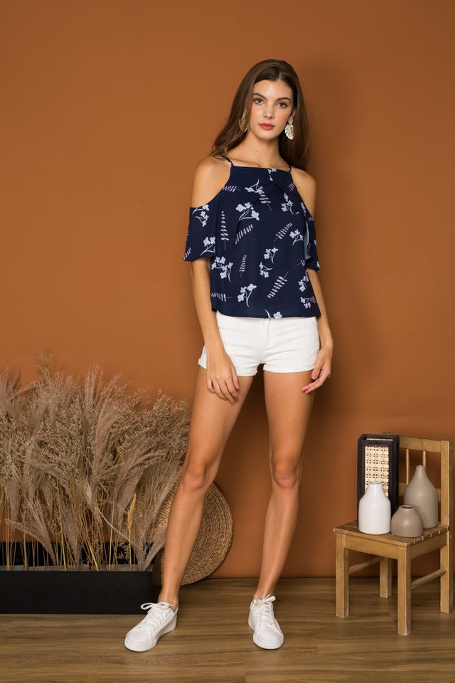 *TSW EXCLUSIVE PRINT* Joce Foliage Cold Shoulder Top in Navy