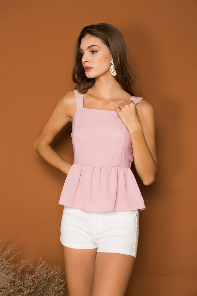 Aspyn Basic Peplum Top in Baby Pink