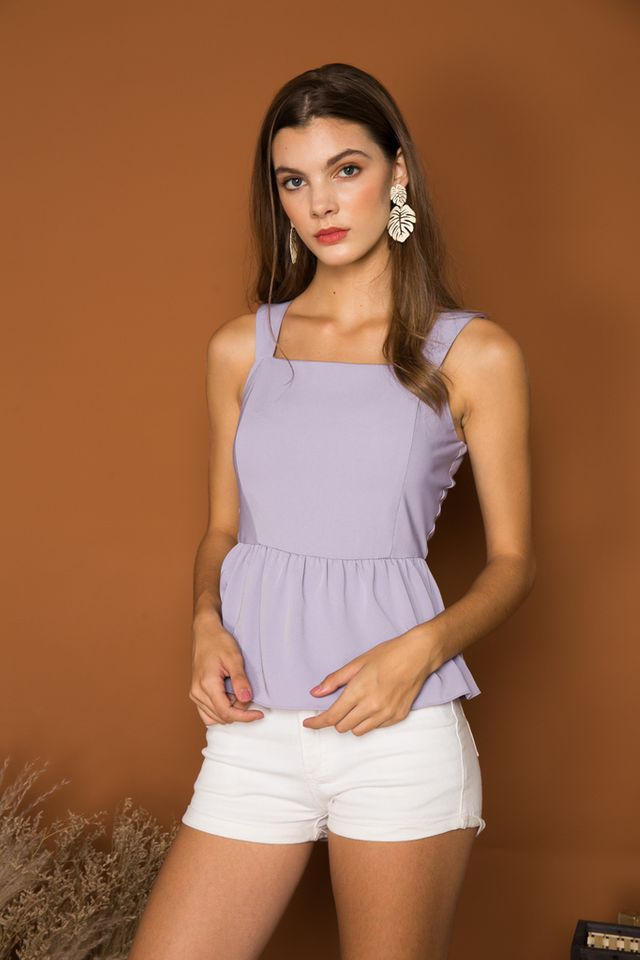 Aspyn Basic Peplum Top in Lavender (L)