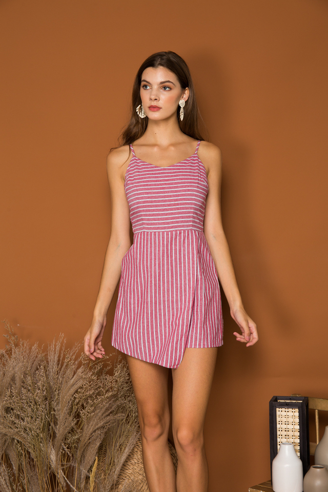 Cambrie Striped Overlay Romper in Red (L)