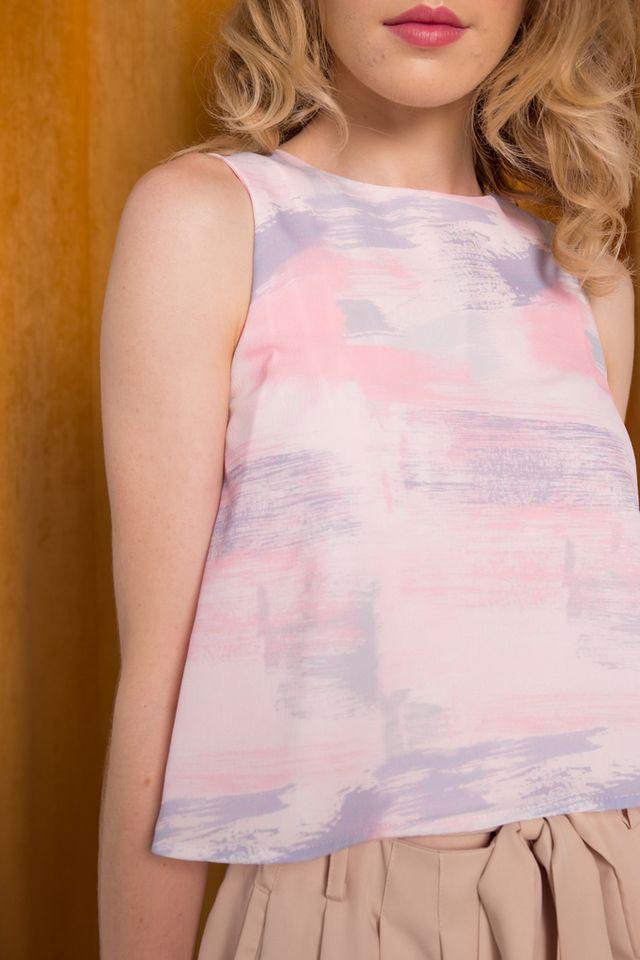 Alona Paintbrush Top in Pastel Pink