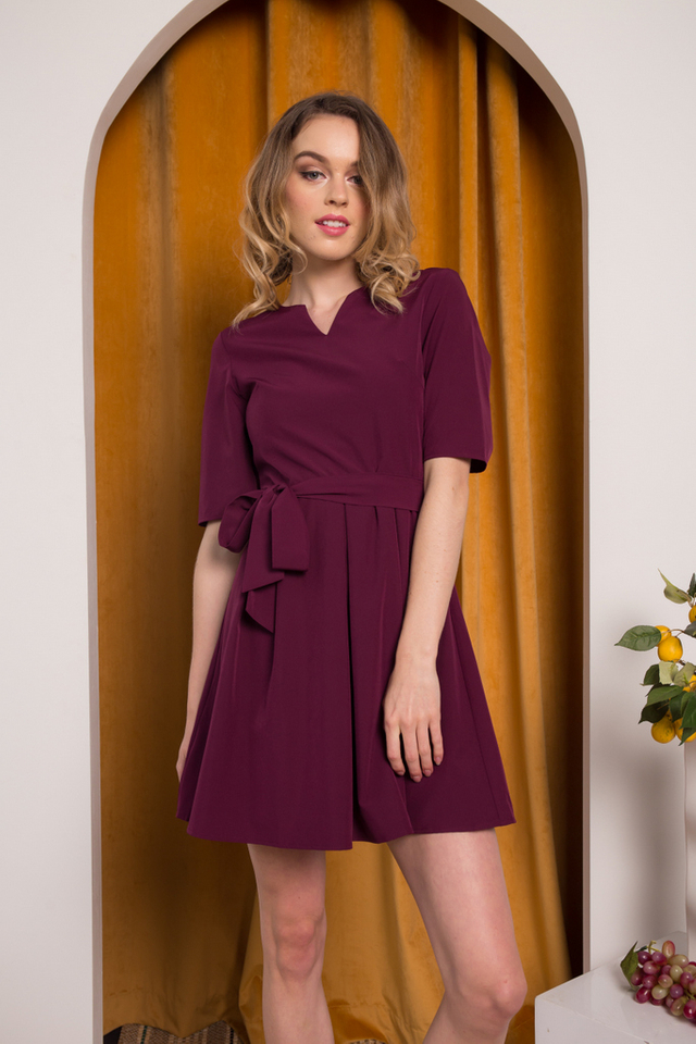 Catina Ribbon Pleated Dress in Plum