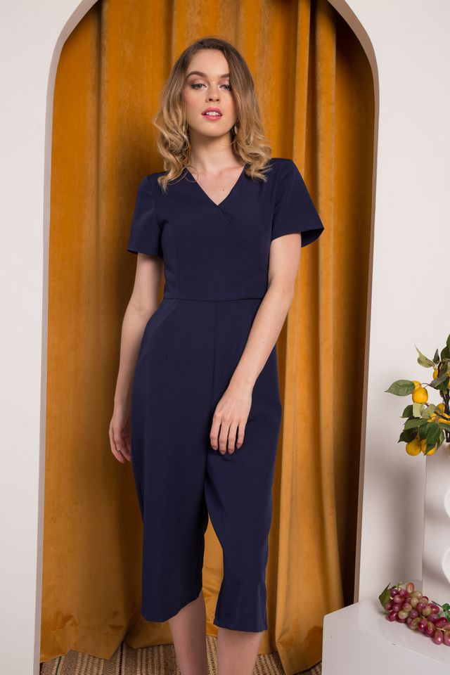 Cass Midi Sleeve Jumpsuit in Navy (L)
