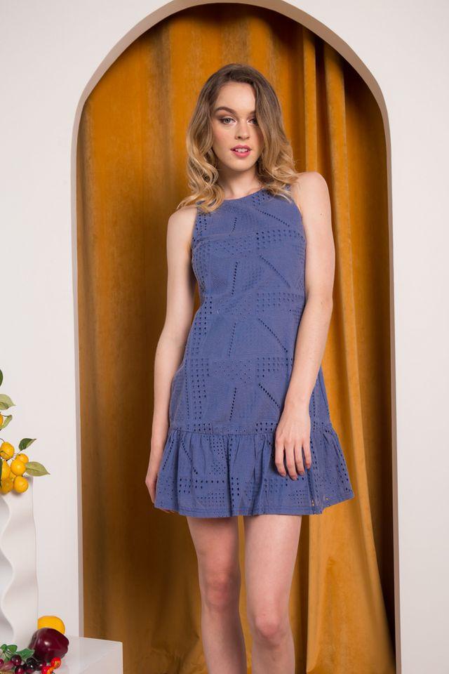 Kiera Eyelet Dropwaist Dress in Steel Blue (XL)