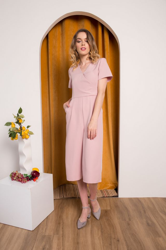 Cass Midi Sleeve Jumpsuit in Dusty Pink