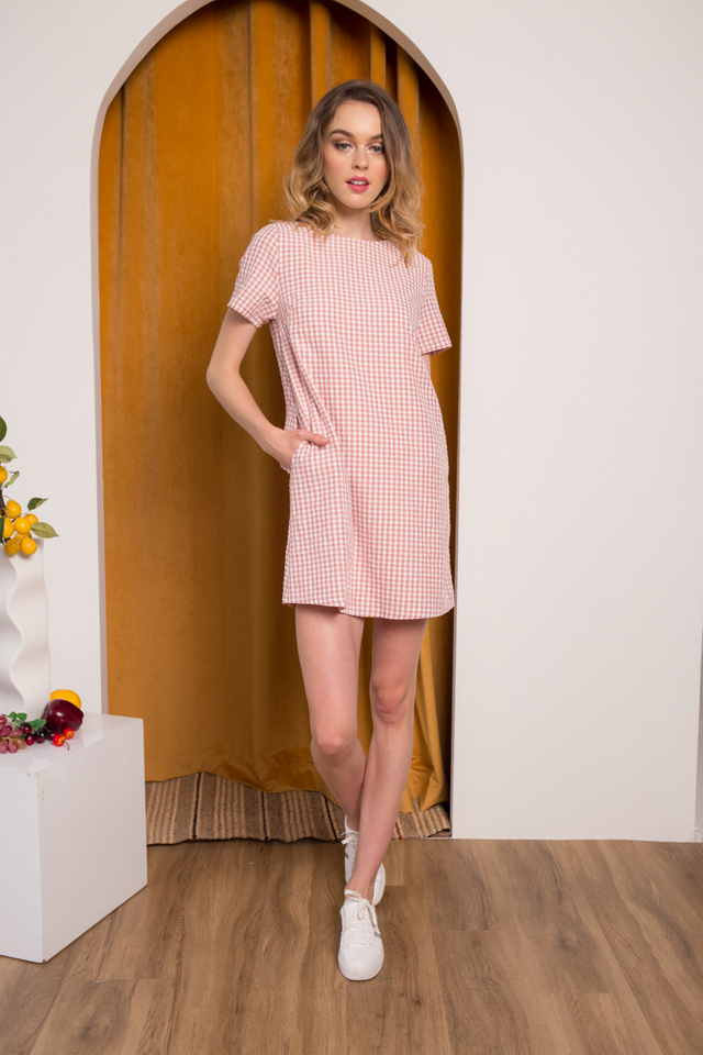 Amorie Gingham Shift Dress in Dusty Rose