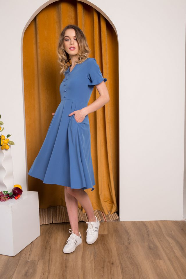 Jory Button Ruffles Midi Dress in True Blue