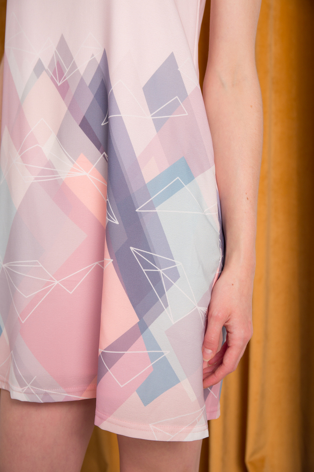 Marys Geometric Trapeze Dress in Pastel Pink