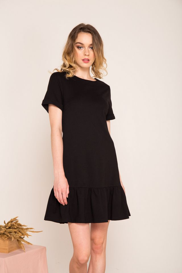 Brisa Folded Sleeve Dropwaist Dress in Black
