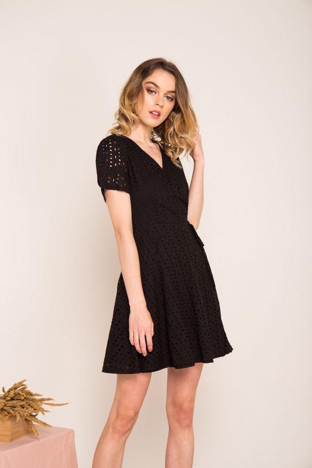 Ginny Eyelet Skater Dress in Black (XS)