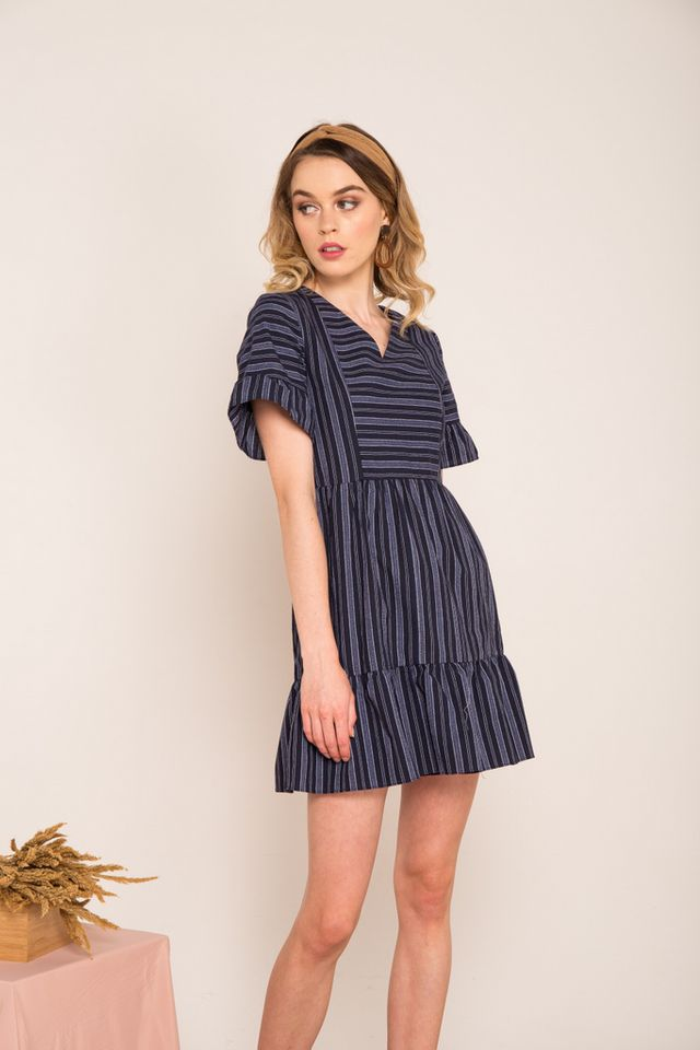 Lynsday Pinstripe Ruffle Skater Dress in Navy