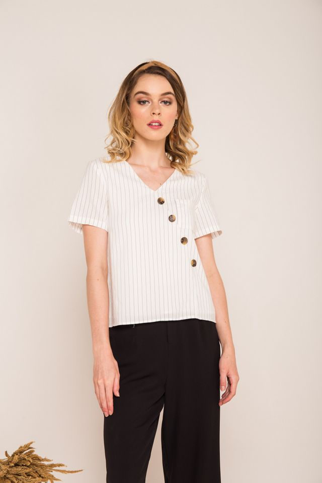Fayline Striped Asymmetrical Button Top in White (XS)
