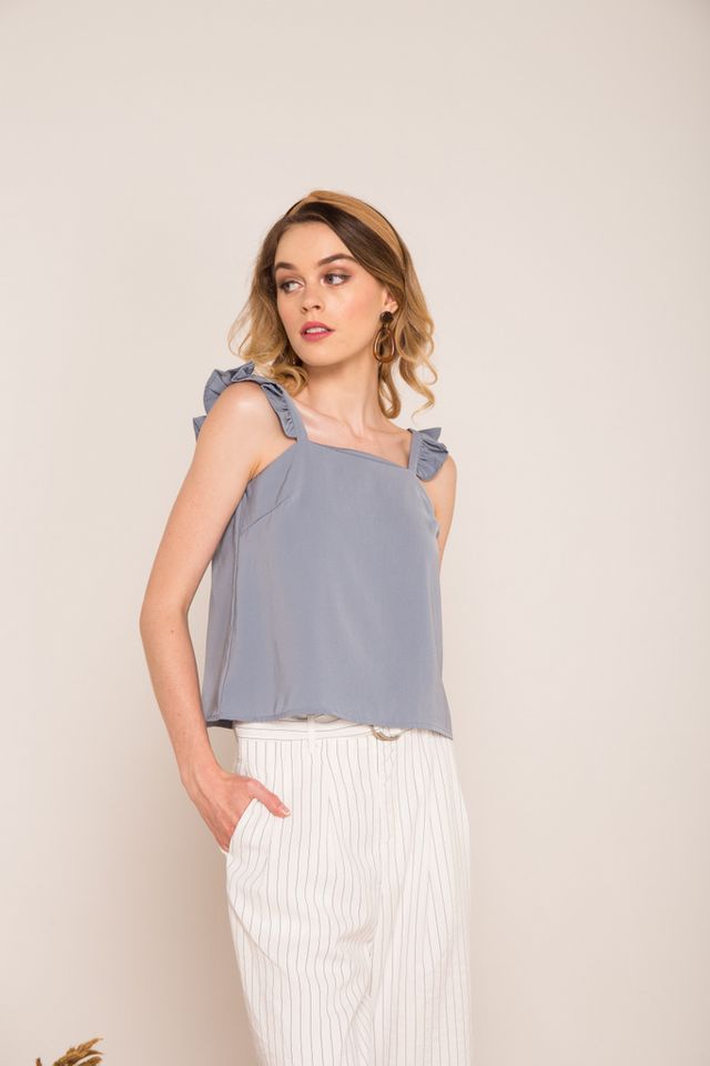 Eilon Ruffled Straps Crop Top in Ash Blue