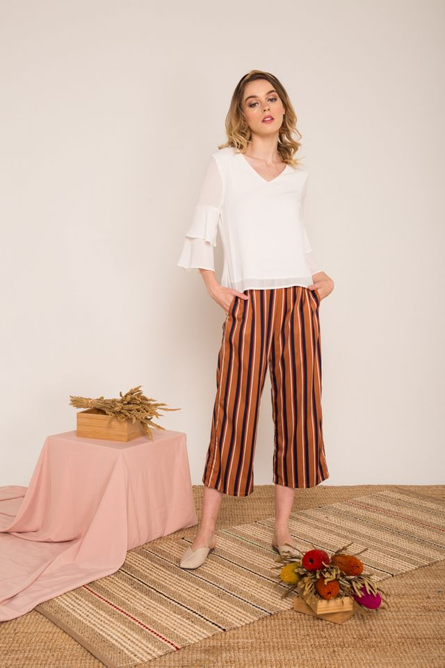 Cliona Pinstriped High-waisted Culottes in Caramel