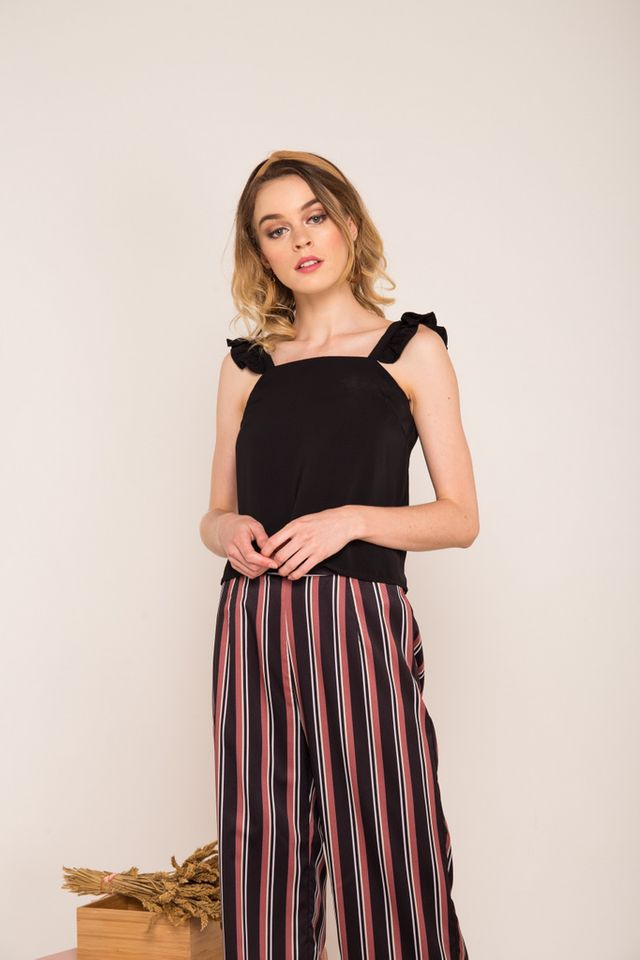 Eilon Ruffled Straps Crop Top in Black (L)