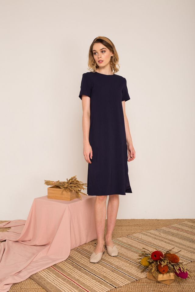 Morgana Midi Shift Dress  in Navy (XS)