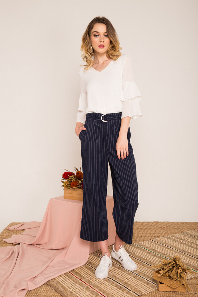 Chela Striped Belted Culottes in Navy