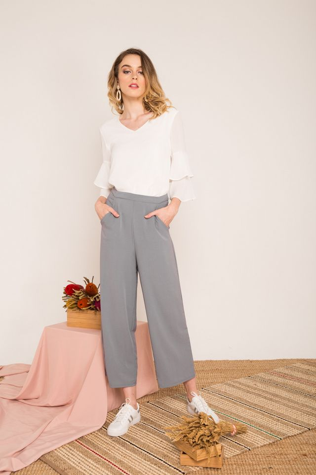 Urien High-waisted Trousers in Grey-blue
