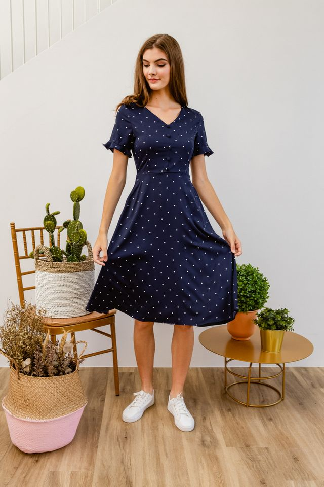 Oralie Polka Dot Button Dress in Navy (S)