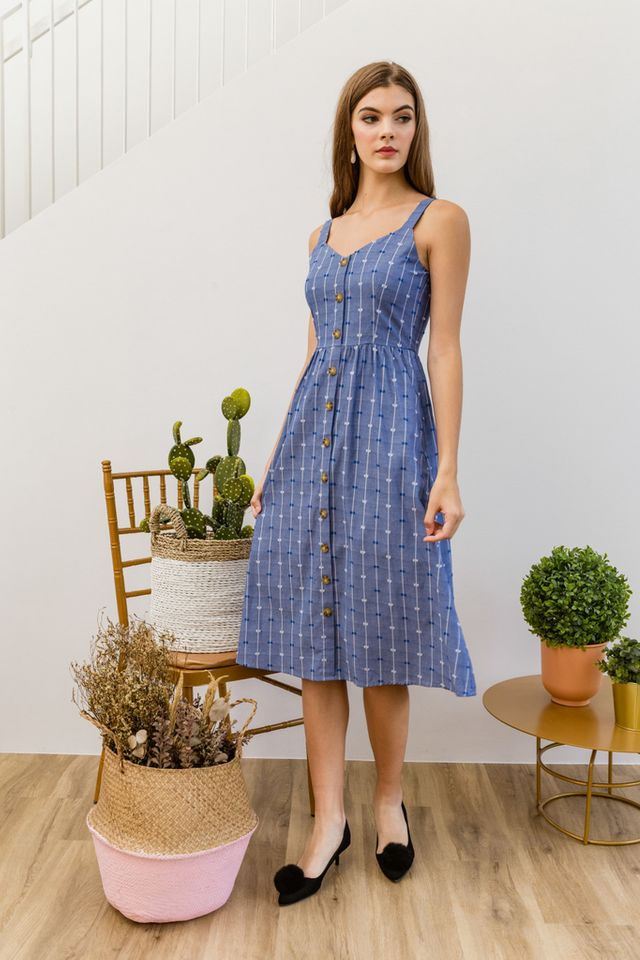 Alexane Textured Button Down Midi Dress in Blue