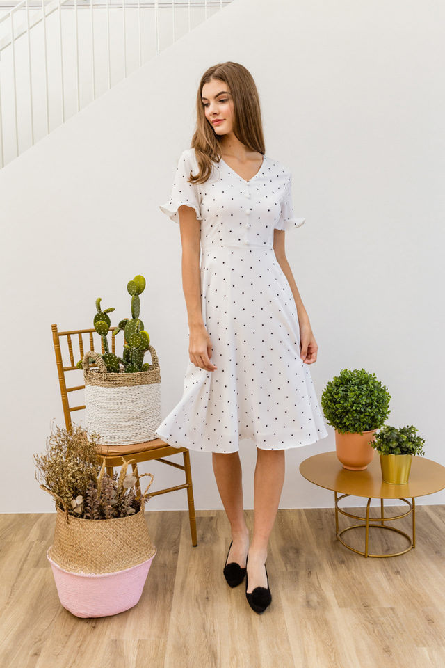 Oralie Polka Dot Button Dress in White