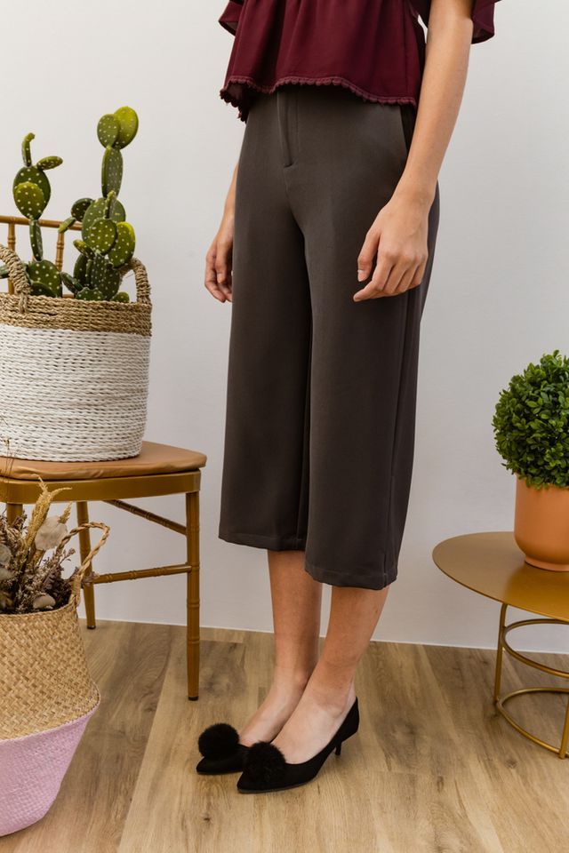 Willis Basic Highwaisted Culottes in Steel Grey