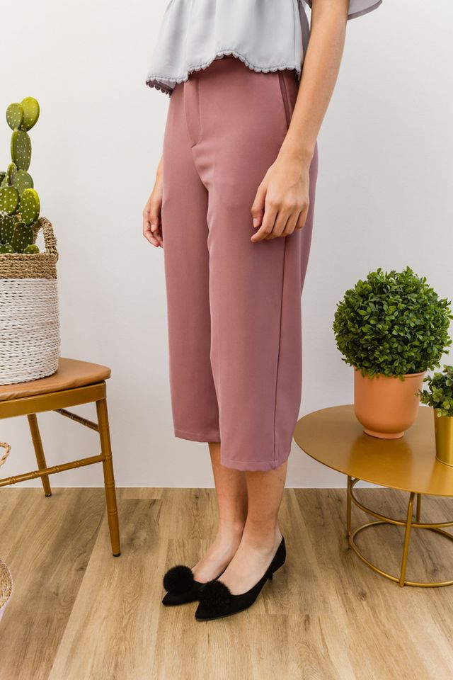 Willis Basic Highwaisted Culottes in Dusty Rose (XL)